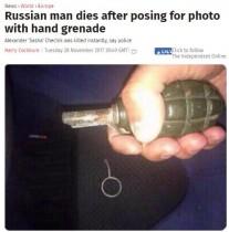 【海外発!Breaking News】安全ピンを抜いた手榴弾の写真、友人に送った直後に爆発 26歳男性が死亡(露)