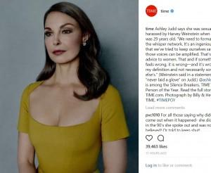 ワインスタインのセクハラを暴露した女優アシュレイ・ジャッド(画像は『TIME 2017年12月6日付Instagram「Ashley Judd says she was sexually harassed by Harvey Weinstein when she was 29 years old.」』のスクリーンショット)
