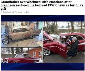【海外発!Breaking News】孫の優しさで蘇った1957年製シボレー車 祖父の誕生日に最高の贈り物(米)