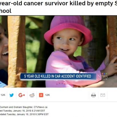 【海外発!Breaking News】あまりにも悲運な5歳女の子 3歳からがん闘病、退院直後に車に轢かれ…(カナダ)