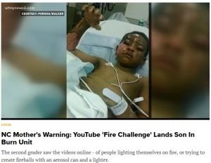 """【海外発!Breaking News】YouTubeで流行""""ファイアー・チャレンジ""""で7歳児が重傷 「皆さんも気を付けて」涙の母親(米)"""