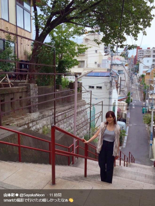 『君の名は。』聖地を訪れた山本彩(画像は『山本彩 2018年1月3日付Twitter「smartの撮影で行けたの嬉しかったなぁ」』のスクリーンショット)