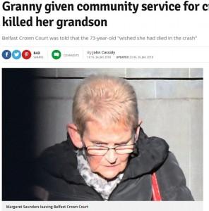 事故を起こしたマーガレット(73歳)(画像は『Belfast Live 2018年1月26日付「Granny given community service for crash which killed her grandson」』のスクリーンショット)