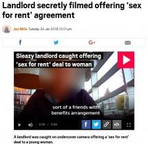【海外発!Breaking News】「家賃をまけるから」 借主の女性に性交渉を持ちかける悪質大家(英)