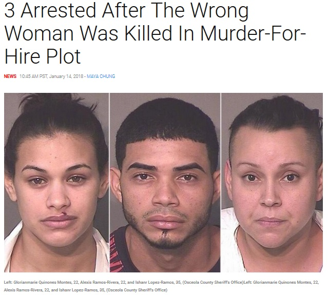 男女の殺し屋(左と中央)と殺害を依頼した女(画像は『Inside Edition 2018年1月14日付「3 Arrested After The Wrong Woman Was Killed In Murder-For-Hire Plot」(Osceola County Sheriff's Office)』のスクリーンショット)