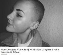 寄付のため髪を剃った14歳少女 学校から「校則違反」と言われ教室に入れず(英)