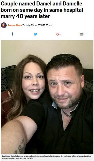 同じ病院で同じ日に産まれたWダニエルさん(画像は『Metro 2018年1月25日付「Couple named Daniel and Danielle born on same day in same hospital marry 40 years later」(Picture: SWNS)』のスクリーンショット)