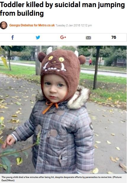 自殺者の巻き添えになり死亡した1歳9か月の男児(画像は『Metro 2018年1月2日付「Toddler killed by suicidal man jumping from building」(Picture: East2West)』のスクリーンショット)