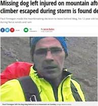 【海外発!Breaking News】動けなくなくなった飼い犬を山に置き去りにし死なせた登山者に非難殺到(英)