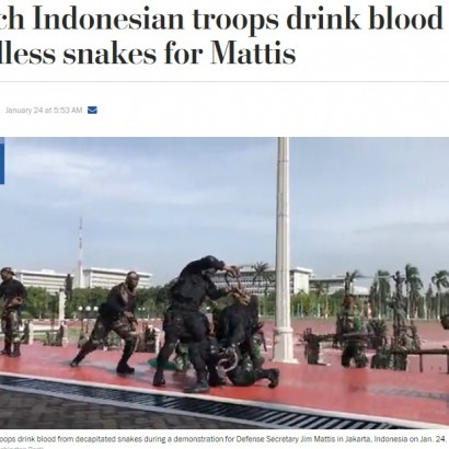 【海外発!Breaking News】大蛇の生き血に炎…インドネシア特殊部隊の米国防長官歓迎パフォーマンスが激しすぎる!