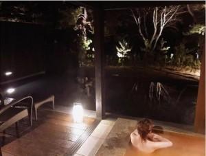 京都・天橋立で温泉に入る菊地亜美(画像は『菊地亜美 2018年1月4日付Instagram「まったり…」』のスクリーンショット)