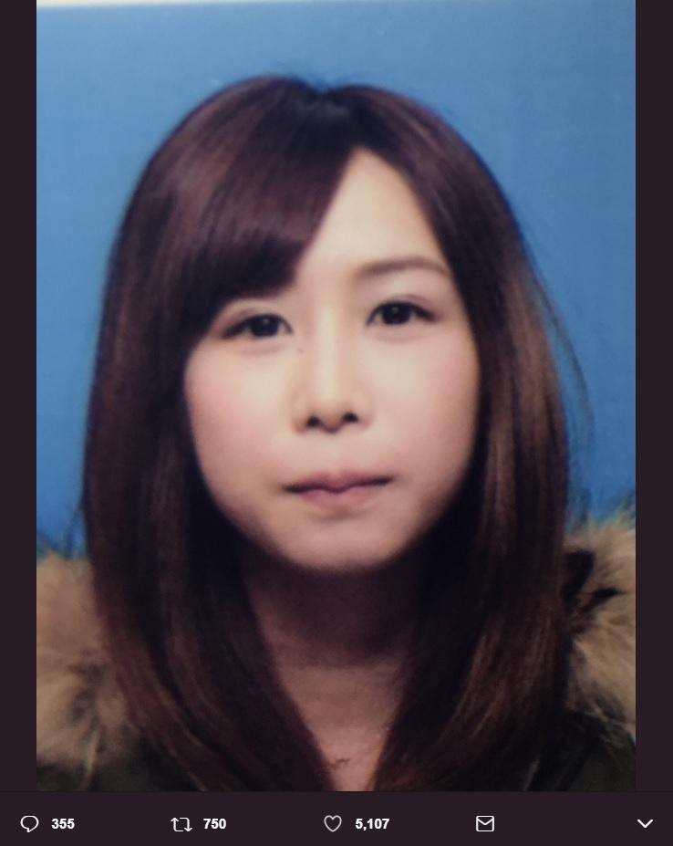 大家志津香の免許証写真(画像は『大家志津香(しーちゃん) 2018年1月28日付Twitter「免許更新。」』のスクリーンショット)