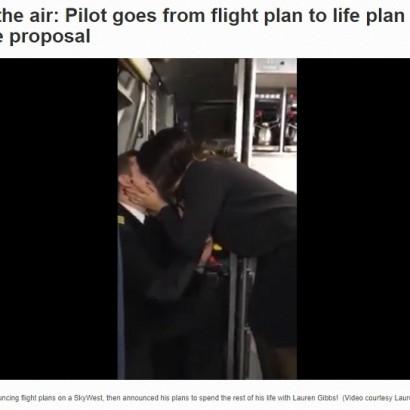 【海外発!Breaking News】パイロットが機内アナウンスでプロポーズ 乗客からは大きな歓声(米)