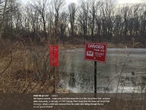 少年が溺れた池(画像は『FDNY 2018年2月6日付Twitter「We implore parents - make sure your kids know the ice in the city of New York, on these lakes and ponds, is not safe」』のスクリーンショット)