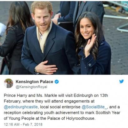 【イタすぎるセレブ達】ヘンリー王子&メーガンさん、バレンタインデー前夜はスコットランドへ