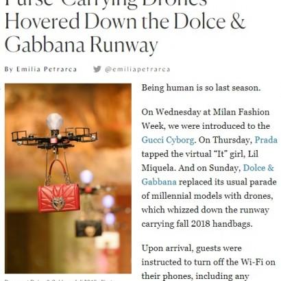 【海外発!Breaking News】ファッションモデル失業の危機? 「D&G」ショーでドローンがバッグを吊るしランウェイを舞う(伊)