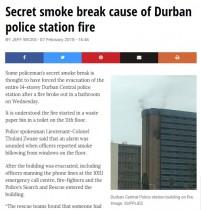 【海外発!Breaking News】トイレでこっそり喫煙、警察署が火事に(南ア)