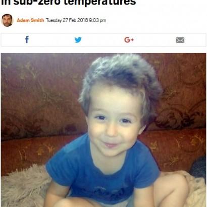 【海外発!Breaking News】夢遊病の4歳児、マイナス20度の真夜中に屋外で凍死(露)