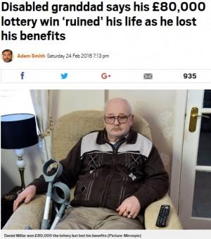 【海外発!Breaking News】宝くじで1,200万円当選した障がい者男性、散財し手当も打ち切られ極貧生活に(スコットランド)