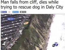 【海外発!Breaking News】崖から落ちた犬を救助しようとした飼い主、150メートル下に滑落して死亡(米)