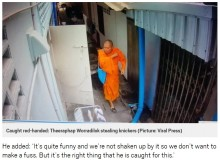 【海外発!Breaking News】女性の下着を盗む僧侶、監視カメラに捉えられる(タイ)<動画あり>