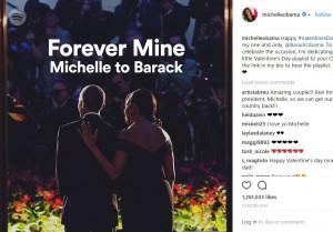 最高のバレンタインデー・ギフト(画像は『Michelle Obama 2018年2月14日付Instagram「Happy #ValentinesDay to my one and only, @BarackObama.」』のスクリーンショット)