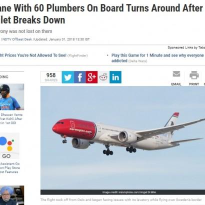 【海外発!Breaking News】トイレ配管トラブルで旅客機が引き返す 皮肉にも乗客60名超が水道管施工業者(ノルウェー)