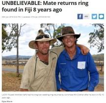 【海外発!Breaking News】10年前にフィジーの海で紛失した結婚指輪、職場の同僚が発見(豪)
