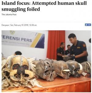 """【海外発!Breaking News】オランダへの""""密輸""""を企まれた24個の頭蓋骨 バリ島税関で押収される"""