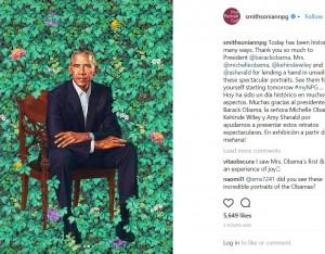 背景の緑が鮮やかなバラク・オバマ氏の肖像画(画像は『National Portrait Gallery 2018年2月13日付Instagram「Today has been historic in many ways.」』のスクリーンショット)