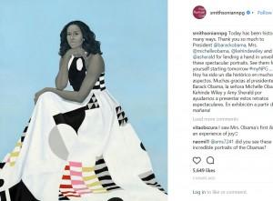ミシェル・オバマさんの肖像画(画像は『National Portrait Gallery 2018年2月13日付Instagram「Today has been historic in many ways.」』のスクリーンショット)