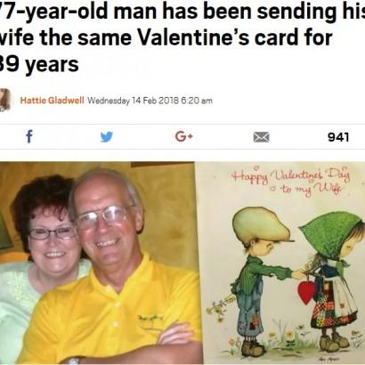 【海外発!Breaking News】39年間、妻に同じバレンタインカードを贈り続ける77歳(英)