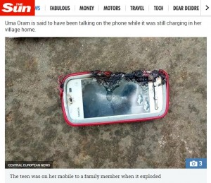 【海外発!Breaking News】充電中のチャットでスマホが爆発 18歳少女が命を落とす(印)