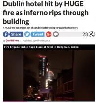 【海外発!Breaking News】ダブリンの空港ホテルで大火災 最上階から激しい炎も