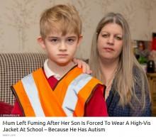 """【海外発!Breaking News】自閉症児童に蛍光色の""""警告""""ベストを着用させた小学校 母親は激怒(英)"""