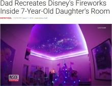 """【海外発!Breaking News】7歳娘の部屋を""""ディズニーの世界""""に改装 天井には花火も(米)<動画あり>"""