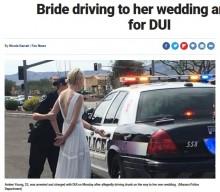 【海外発!Breaking News】ウエディングドレス姿の花嫁、式場に向かうも飲酒運転で逮捕(米)