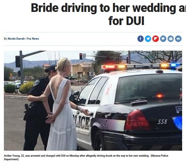 ウエディングドレス姿のまま逮捕された花嫁(画像は『Fox News 2018年3月12日付「Bride driving to her wedding arrested for DUI」(Marana Police Department)』のスクリーンショット)