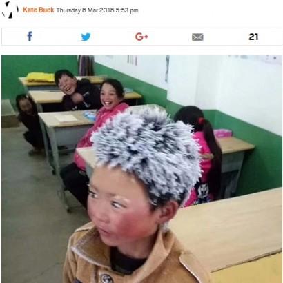 【海外発!Breaking News】登校で髪が凍結し有名になった中国の男児、私立学校へ転入するも追い出される<動画あり>