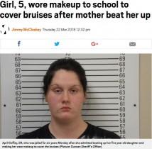 【海外発!Breaking News】虐待痕を隠すためメイクをして5歳娘を登校させた母、6年の懲役刑に(米)