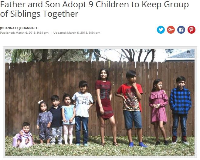いつでも会える環境に喜ぶ9人きょうだい(画像は『NBC4 WCMH 2018年3月6日付「Father and Son Adopt 9 Children to Keep Group of Siblings Together」』のスクリーンショット)