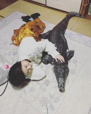 """【エンタがビタミン♪】橋本マナミ""""ワニちゃん""""に添い寝「抱っこしたり戯れました」"""