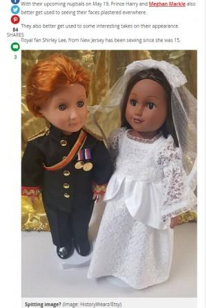 【海外発!Breaking News】英王室ファンが制作した「ヘンリー王子&メーガンさん人形」 肌の色で物議