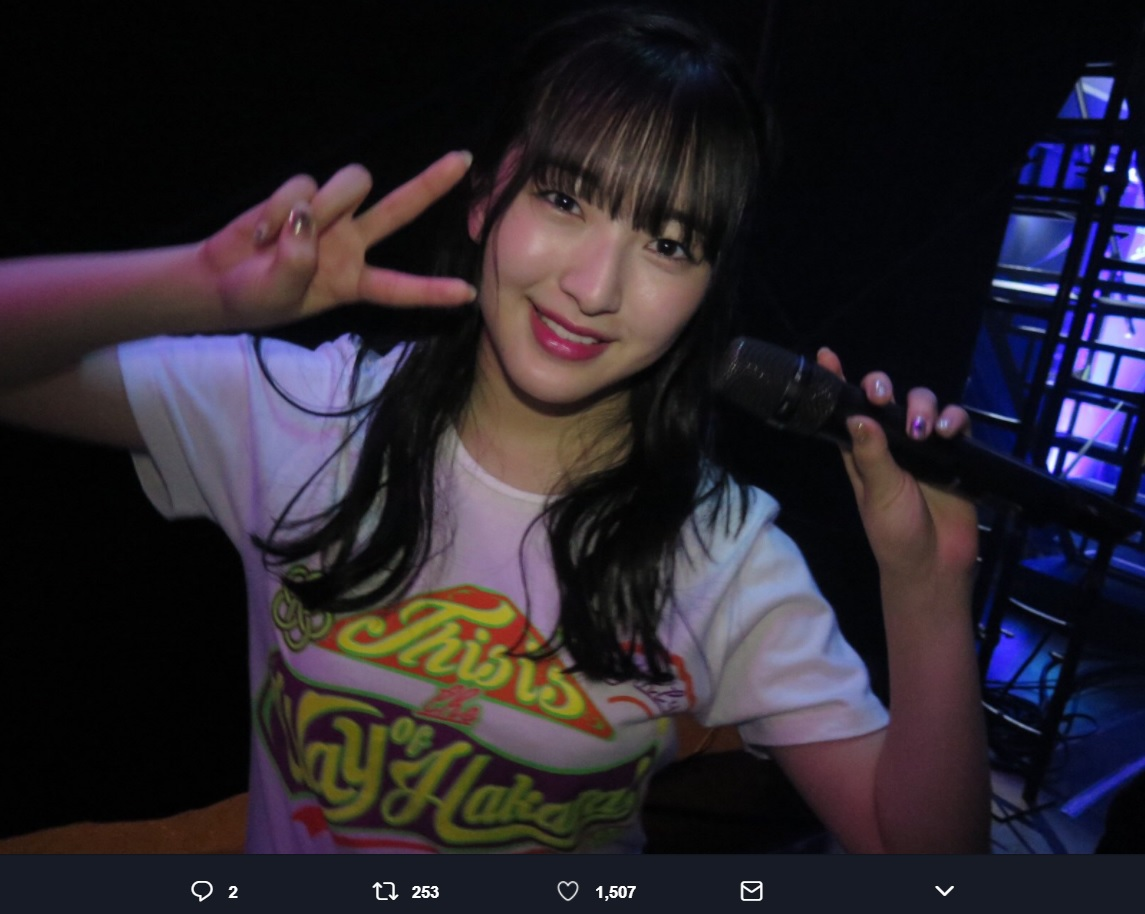 HKT48田島芽瑠(画像は『HKT48 2018年3月17日付Twitter「#HKT48春のアリーナツアー2018~これが博多のやり方だ!~ゼビオアリーナ仙台 田島芽瑠 #博多の元気印」』のスクリーンショット)