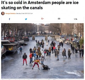 【海外発!Breaking News】アムステルダムで運河がスケートリンクに 厳しい寒波が続くヨーロッパ