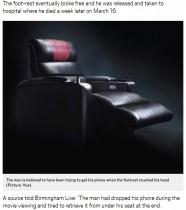 【海外発!Breaking News】映画館のリクライニングシートに挟まれた男性、1週間後に死亡(英)