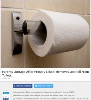 【海外発!Breaking News】トイレからトイレットペーパーを撤去した小学校に保護者ら激怒(英)