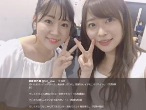 多田愛佳と指原莉乃(画像は『指原莉乃 2018年3月31日付Twitter「さいたまスーパーアリーナ、あぁ楽しかった。」』のスクリーンショット)