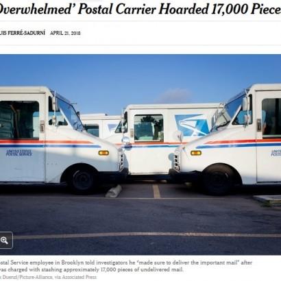 【海外発!Breaking News】17,000通の郵便物を隠匿していた郵便配達人「配達量が多すぎる」(米)