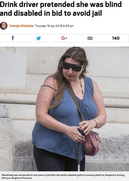 飲酒運転の罪を逃れようと障がい者のふりをした女(画像は『Metro 2018年4月19日付「Drink driver pretended she was blind and disabled in bid to avoid jail」(Picture: Brighton Pictures)』のスクリーンショット)